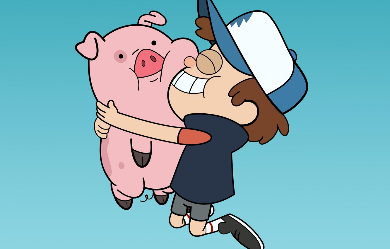 Photo wallpaper cartoon, cartoon, pig, Dipper, Waddles, Pines, gravity falls