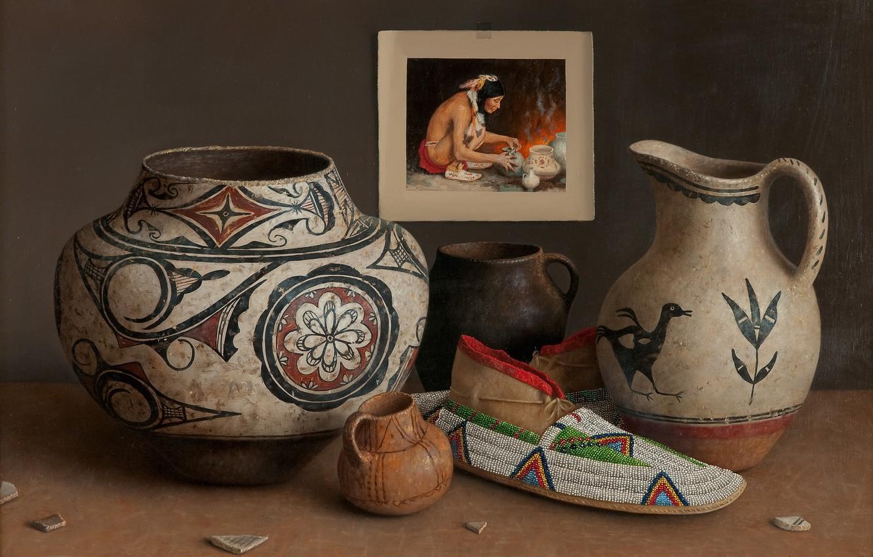 Photo wallpaper patterns, picture, vase, pitcher, slipper, Indian, Still life, William Acheff, Indian still life, Village Potter