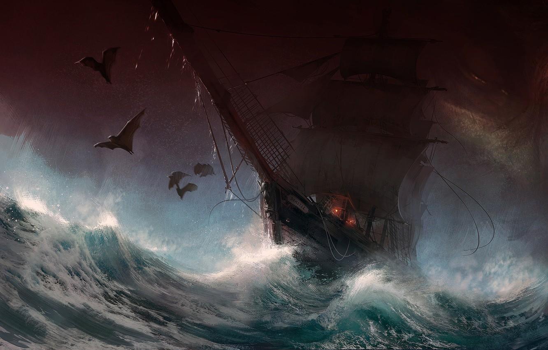Photo wallpaper dark, fantasy, storm, rain, sea, art, painting, ship, digital art, artwork, bats, sail, Sailboat, stormy …