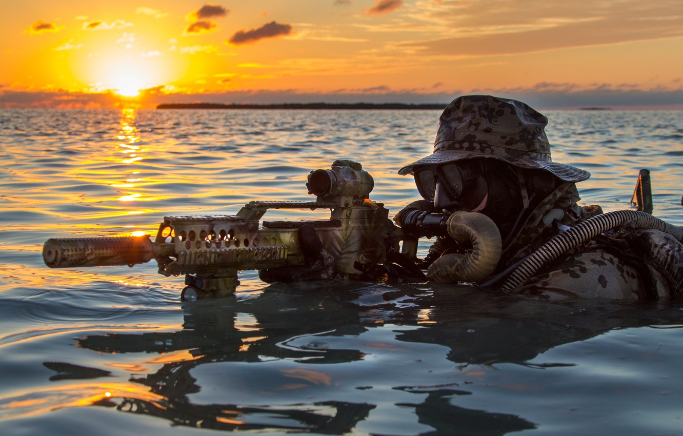 Photo wallpaper water, dawn, machine, fighter, Bundeswehr, Kommando