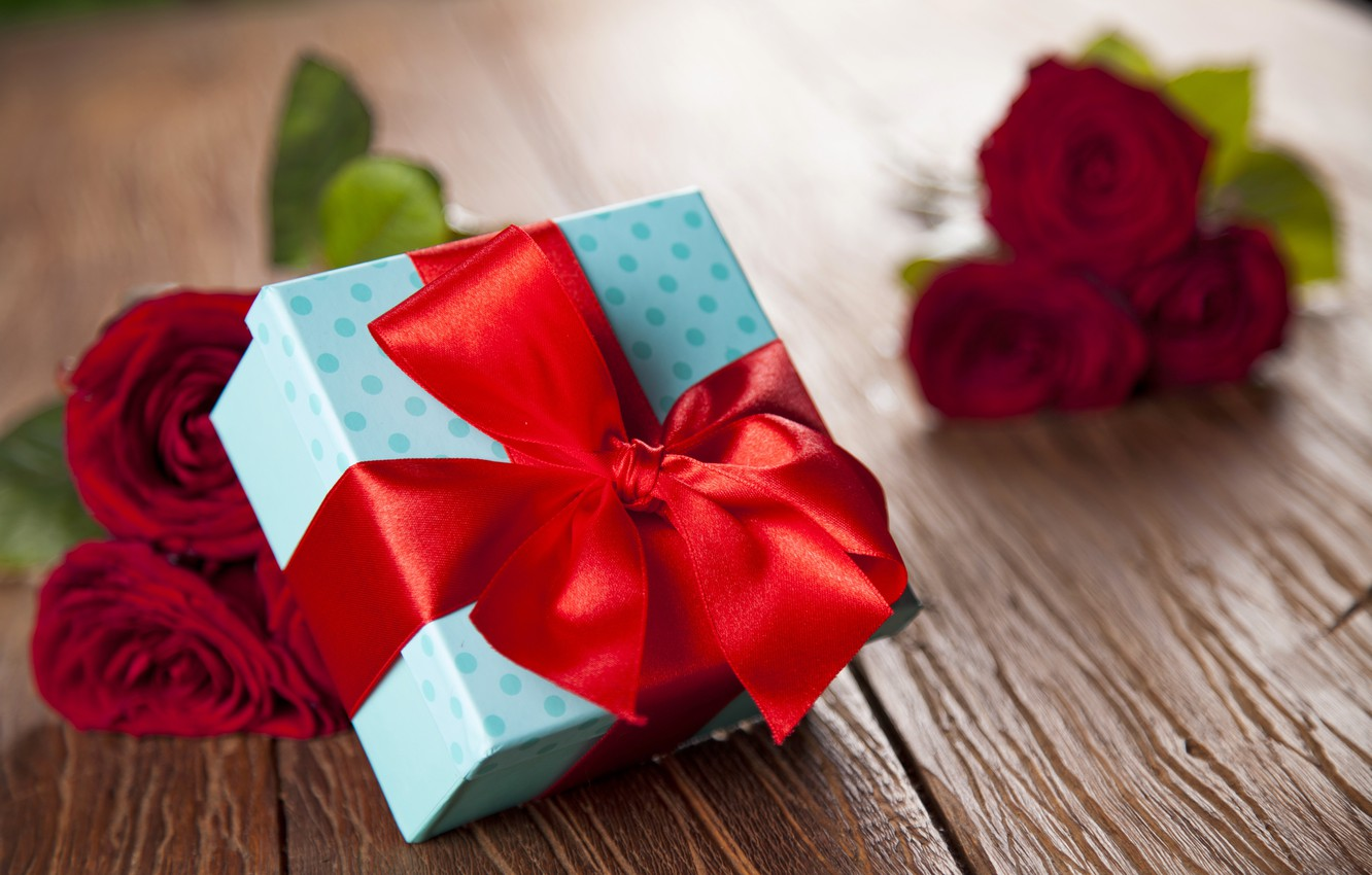 Photo wallpaper red, love, heart, romantic, gift, roses, red roses, valentine`s day