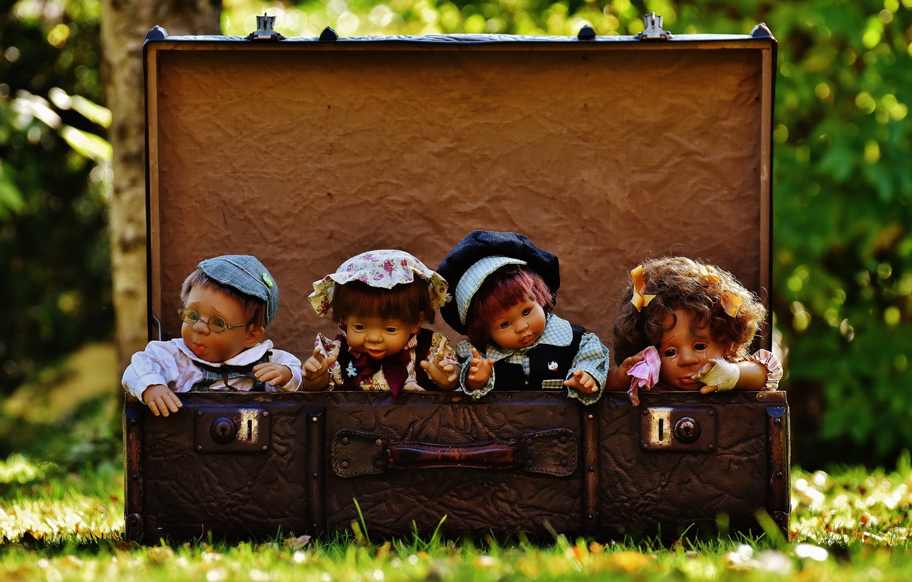 Photo wallpaper grass, nature, toys, doll, suitcase