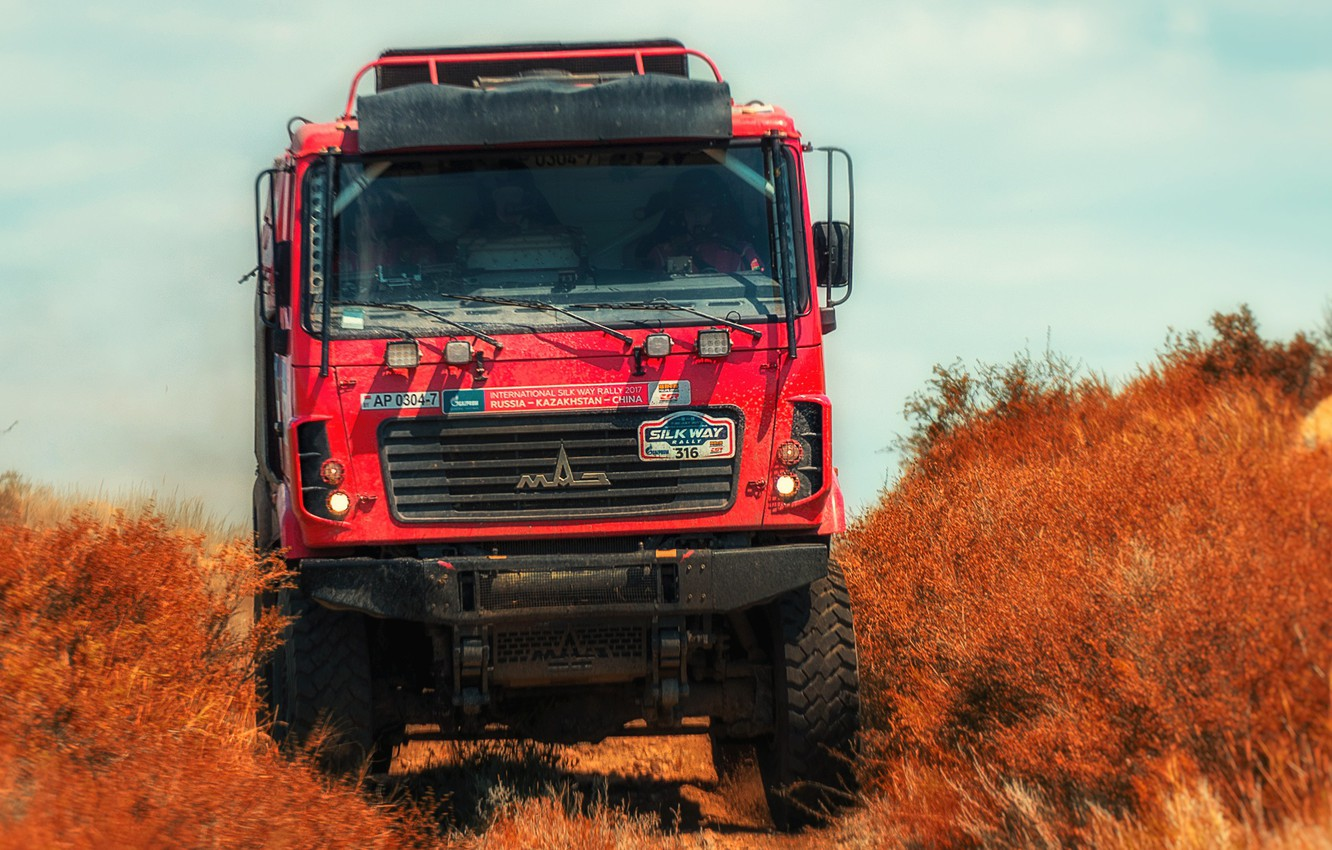 Photo wallpaper Red, Truck, Race, Rally, Rally, The front, The roads, 316, MAZ, Silk road, Silk Way, …