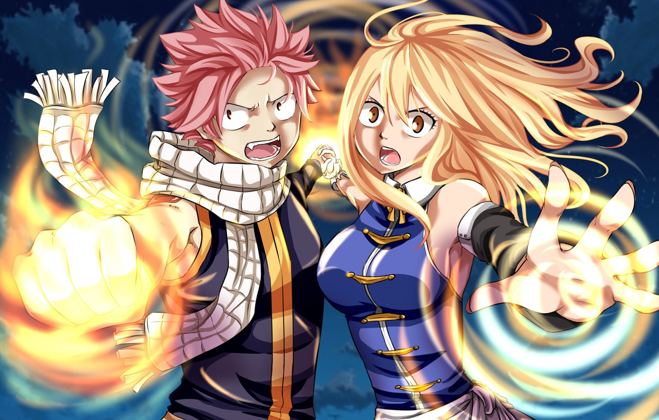 Photo wallpaper game, anime, Lucy, blonde, asian, manga, japanese, Fairy Tail, Natsu, oriental, asiatic, powerful, strong, sugoi, …