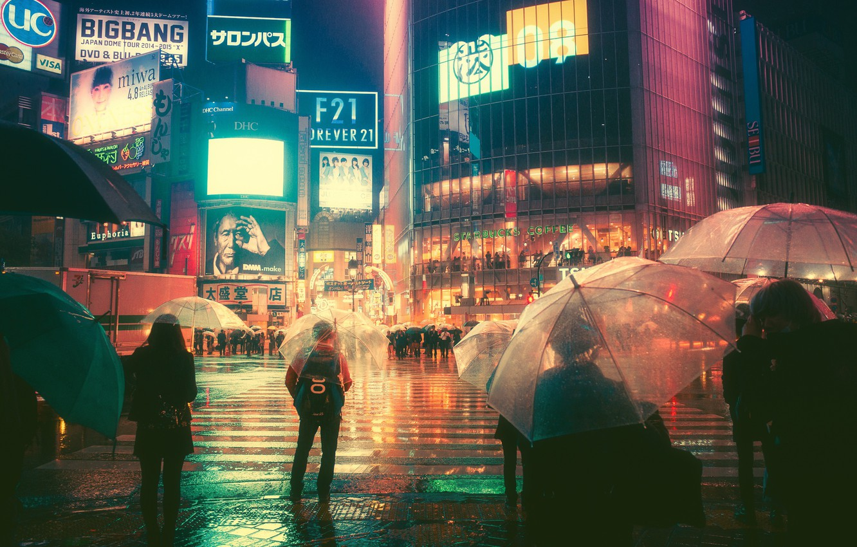 Wallpaper Night, The city, Neon, People, Light, Rain, Advertising, Tokyo, Lights, Machine, Umbrellas, Tokyo, Signs, Masashi Wakasa, Screens images for desktop, section город - download