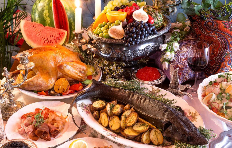 Photo wallpaper wine, glass, orange, chicken, watermelon, strawberry, grapes, fruit, pineapple, luxury, feast, caviar, salad, potatoes, cuts, …