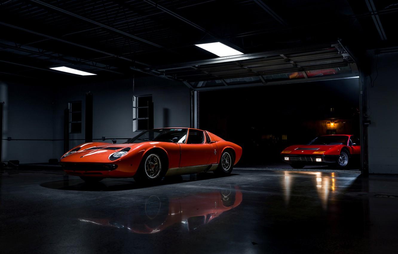 Photo wallpaper retro, Lamborghini Miura, Ferrari 365 BB