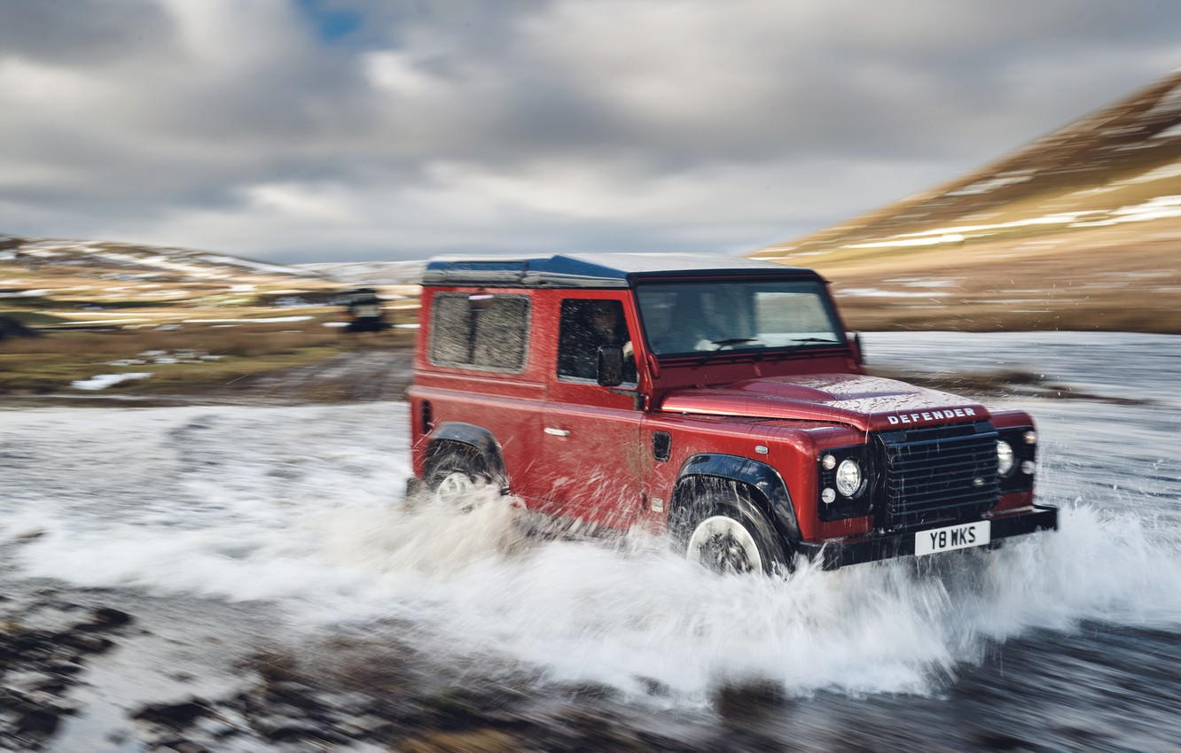 Photo wallpaper the sky, clouds, red, river, hills, stream, SUV, Land Rover, 2018, Defender Works V8, jubilee …