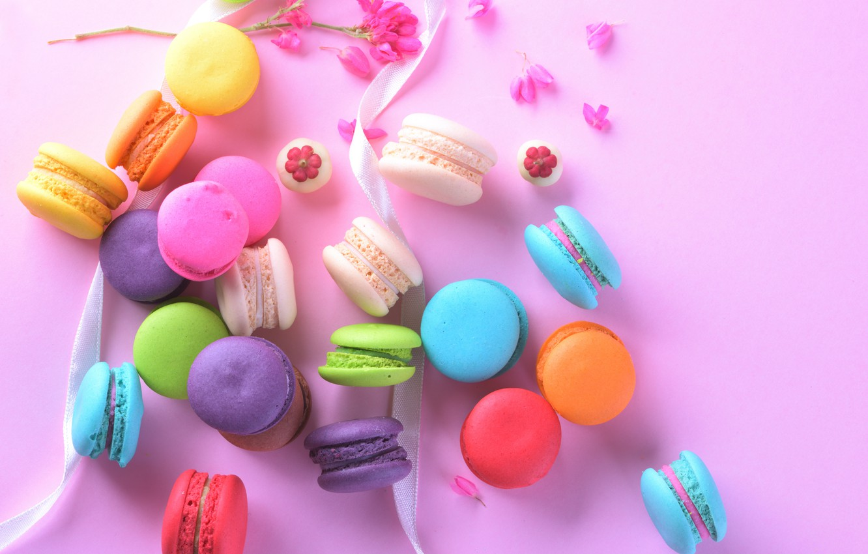 Photo wallpaper flowers, the sweetness, tape, cake, cakes, macaroon