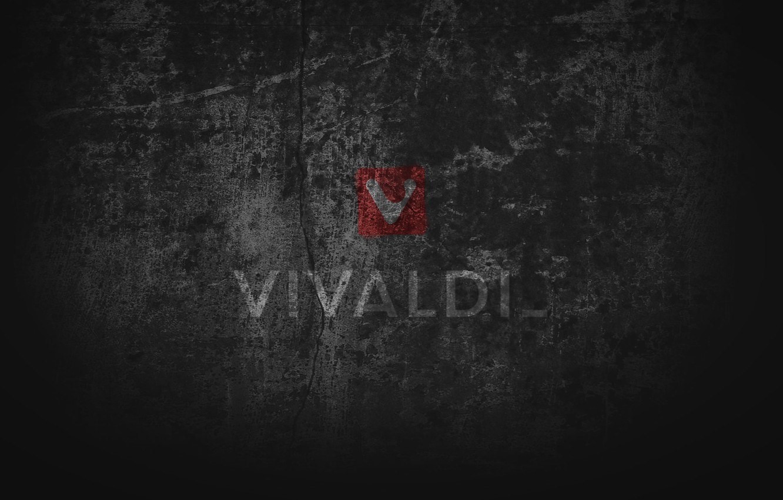 Photo wallpaper black, grey, grunge, browser, computer art, Vivaldi browser, Vivaldi