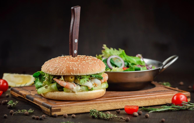 Photo wallpaper knife, vegetables, hamburger, salad, filling