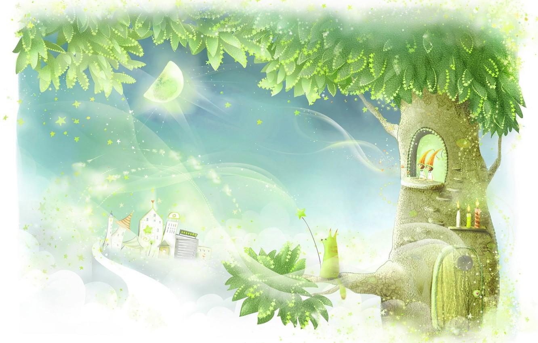 Photo wallpaper tree, magic, art, house, children's