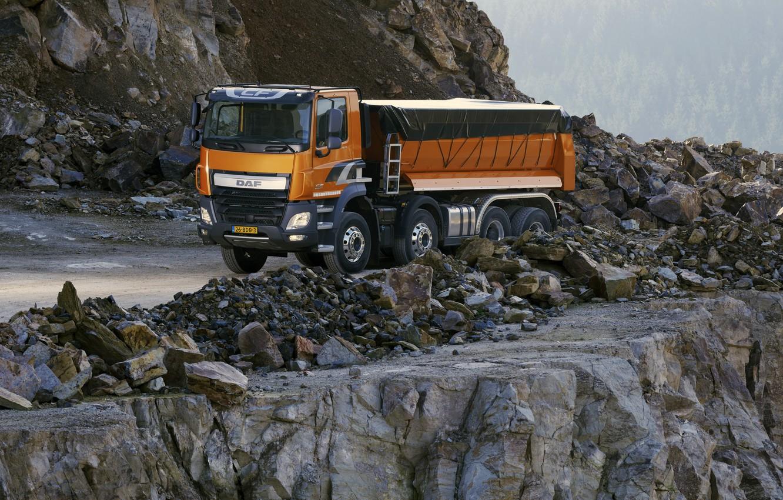 Photo wallpaper orange, tent, body, breed, DAF, DAF, quarry, dump truck, 8x4, Euro6, DAF CF 460 FAD