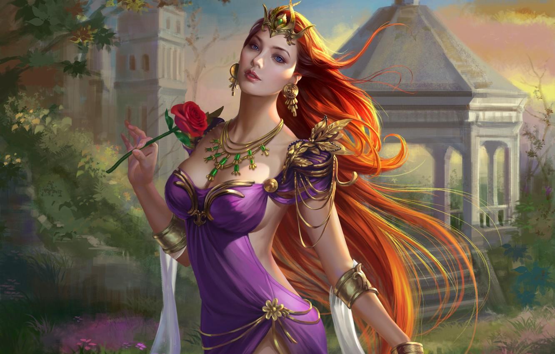 Photo wallpaper flower, look, decoration, rose, crown, dress, art, Princess