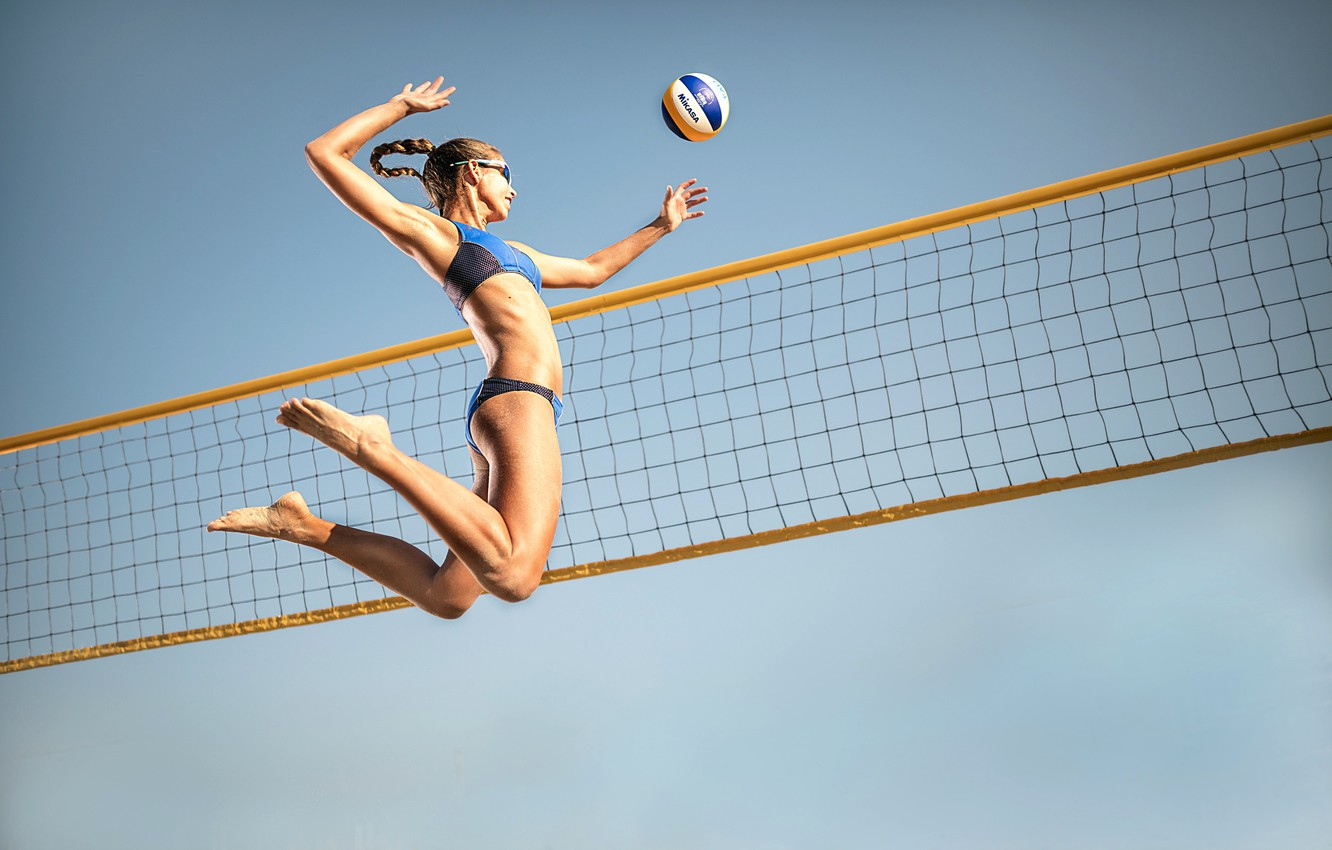 Photo wallpaper mesh, jump, the ball, athlete, volleyball