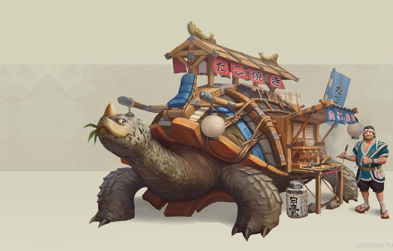 Photo wallpaper fantasy, art, shop, takoyaki, Jourdan Tuffan, takoyaki, Takoyaki Turtle Truck