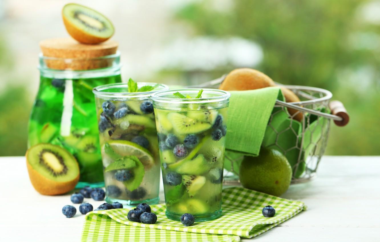 Photo wallpaper lemon, kiwi, blueberries, cocktail, drink, mint, lemonade