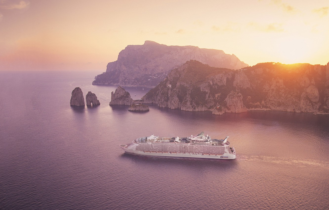 Photo wallpaper Sunset, The ocean, Sea, Rocks, Liner, The ship, Oasis of the Seas, Passenger liner
