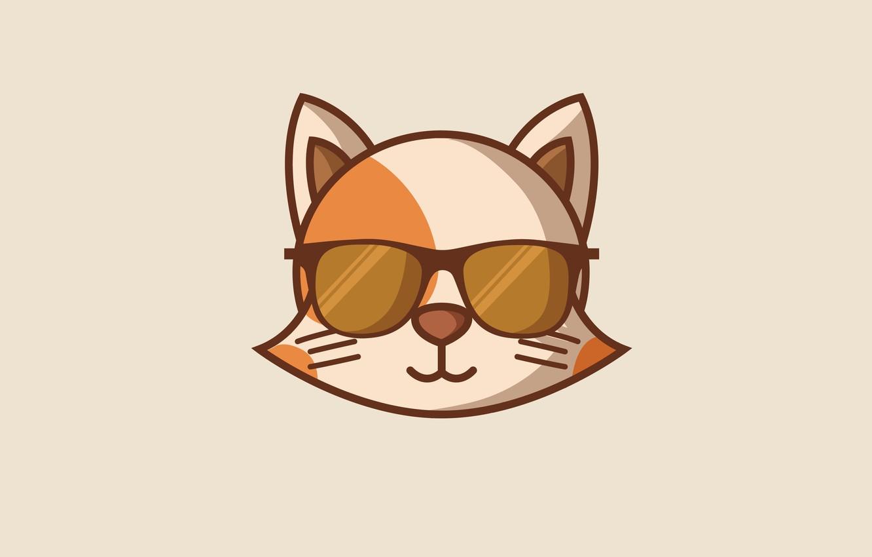 Photo wallpaper cat, cat, minimalism, head, glasses, cat