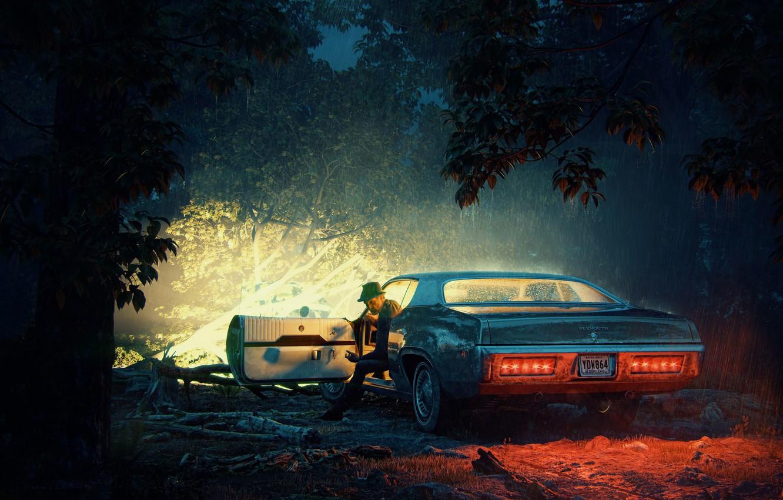 Photo wallpaper forest, night, rain, car, No passage