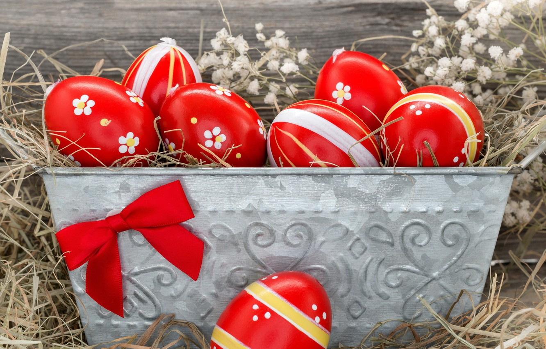 Photo wallpaper eggs, Easter, hay, bow, eggs