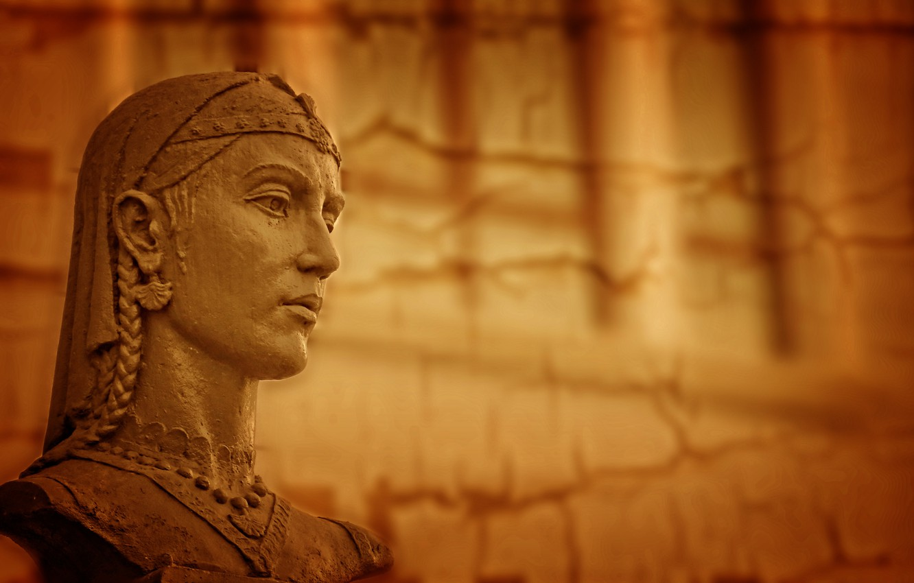 Photo wallpaper yellow, lady, ancient, sculpture, literature, Central Asia, Kide Fotoart