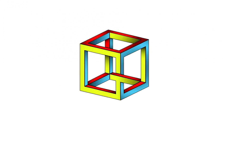 Photo wallpaper cube, illusion, edge