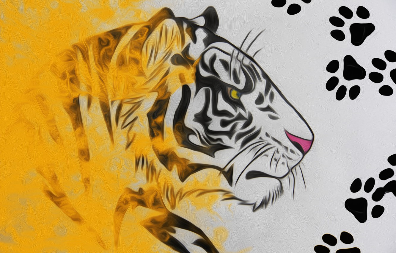 Photo wallpaper traces, tiger, figure, pencil drawing