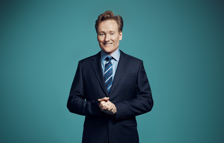 Photo wallpaper blue, smile, funny, hands, handsome, Ginger, Conan o'brien