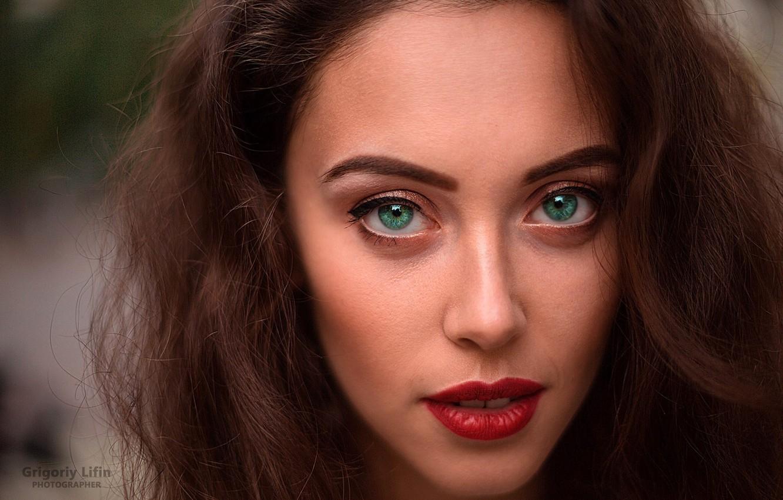 Photo wallpaper look, close-up, face, background, model, portrait, makeup, hairstyle, brown hair, Katrin, green eyes, bokeh, Grigoriy …