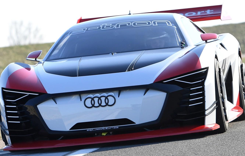 Photo wallpaper Audi, racing car, front view, racing track, 2018, Gran Turismo, E-Tron Vision