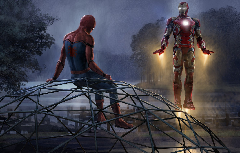 Photo wallpaper trees, night, river, fiction, figure, art, Iron man, Iron Man, comic, piers, MARVEL, Spider-Man, Tony …
