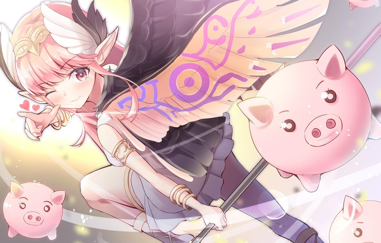 Photo wallpaper wings, girl, angel, pigs