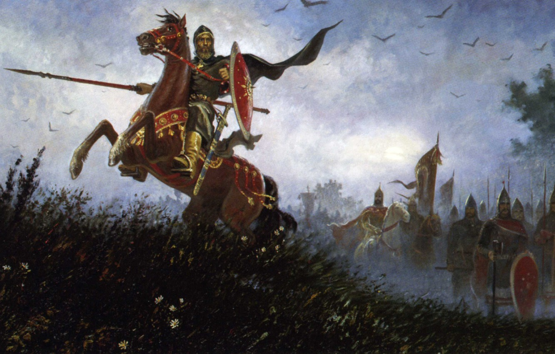 Photo wallpaper horse, Russia, Slavs, Olshansky Boris, on the field of Kulikovo, Peresvet