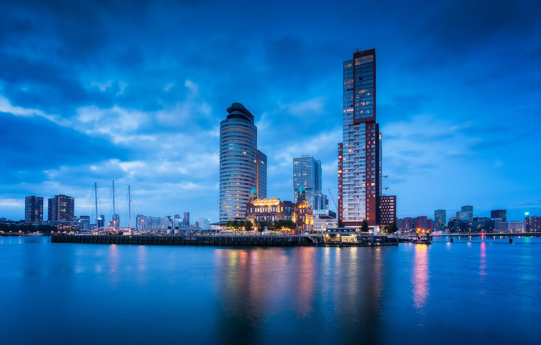Photo wallpaper lights, port, Netherlands, skyline, Holland, Rotterdam, Rotterdam