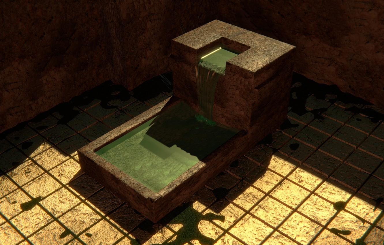 Photo wallpaper water, stream, stone, yard, angle, Megalit, blender3d