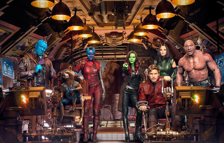 Photo wallpaper cinema, Nebula, movie, film, Rocket, Mantis, Guardians of the Galaxy, Rocket Raccoon, Gamora, Groot, Drax, …
