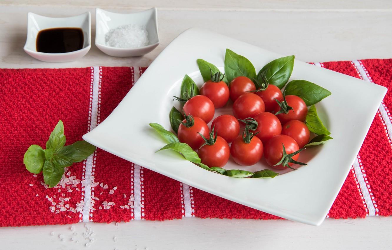 Photo wallpaper vegetables, tomatoes, salt, Basil