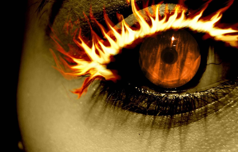 Photo wallpaper fire, orange, Eye, eyelash