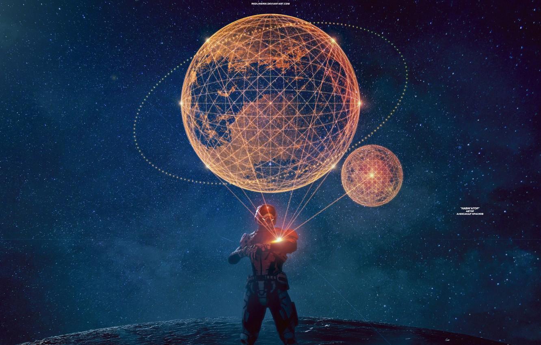Photo wallpaper stars, night, map, mass effect, hologram, andromeda, ryder