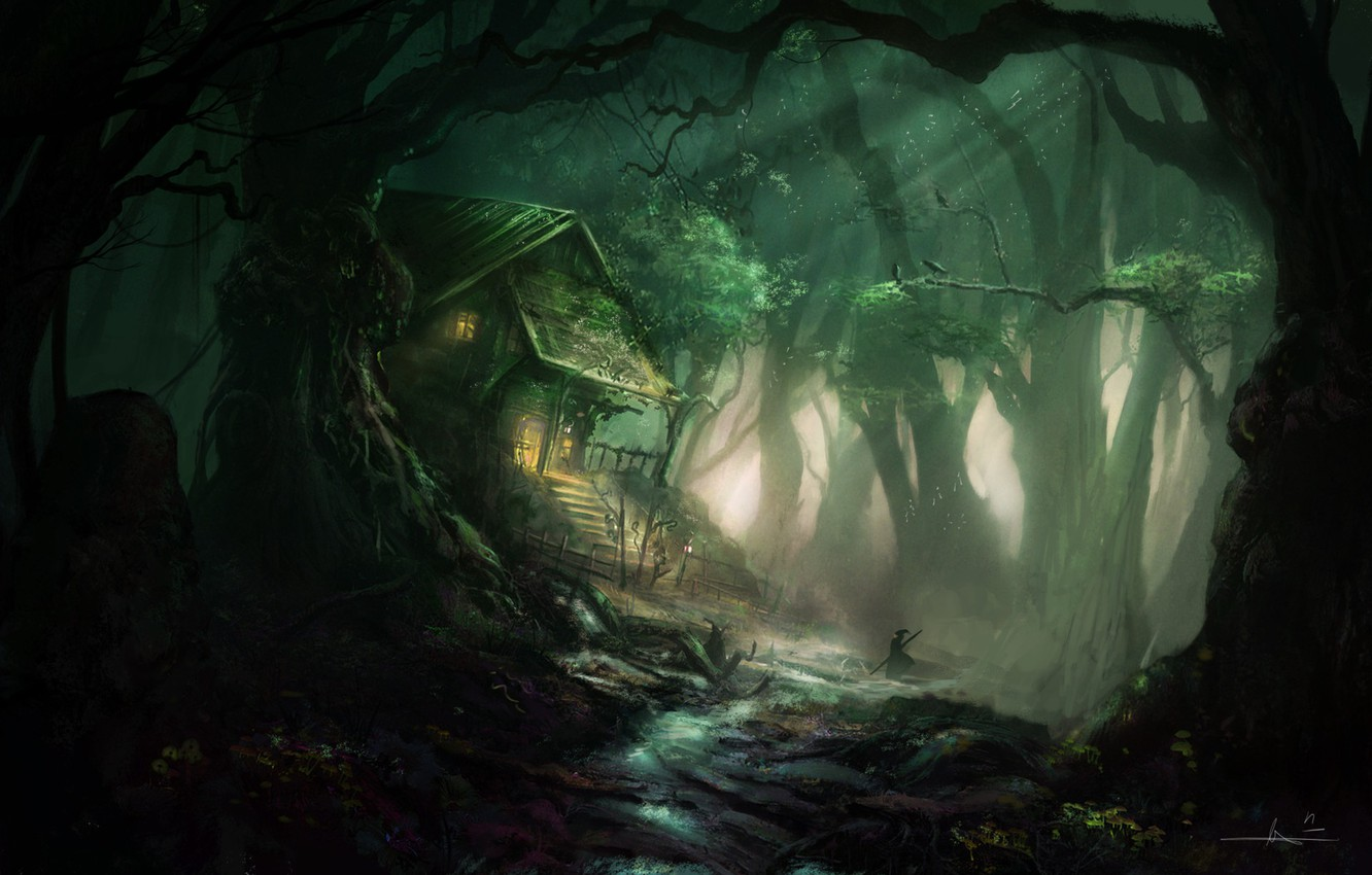 Photo wallpaper forest, house, people, landscape, The Inn of the Mistic Forest