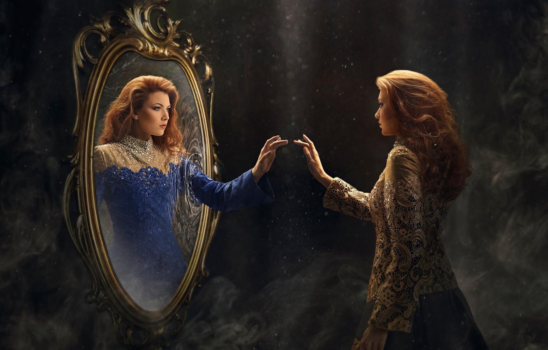 Photo wallpaper girl, reflection, mirror, Robert Cornelius