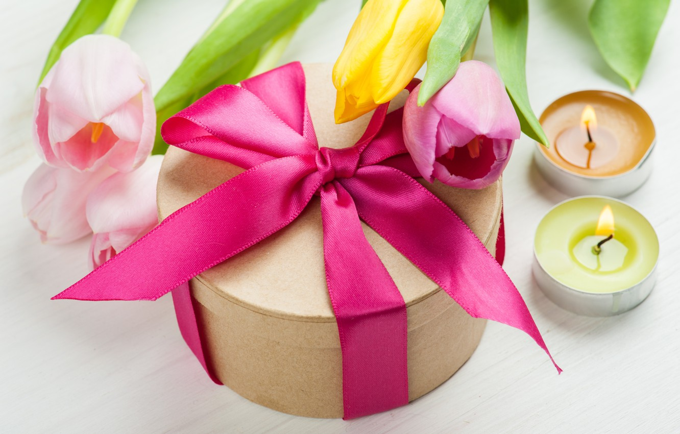 Photo wallpaper bouquet, candles, tulips, love, bow, fresh, flowers, romantic, tulips, gift