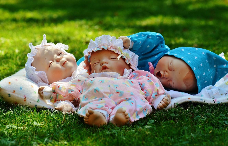 Photo wallpaper grass, children, toys, doll, kids, newborns