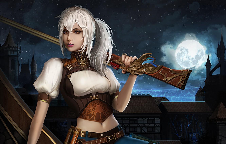 Photo wallpaper the sky, look, girl, night, the city, the moon, the gun, white hair