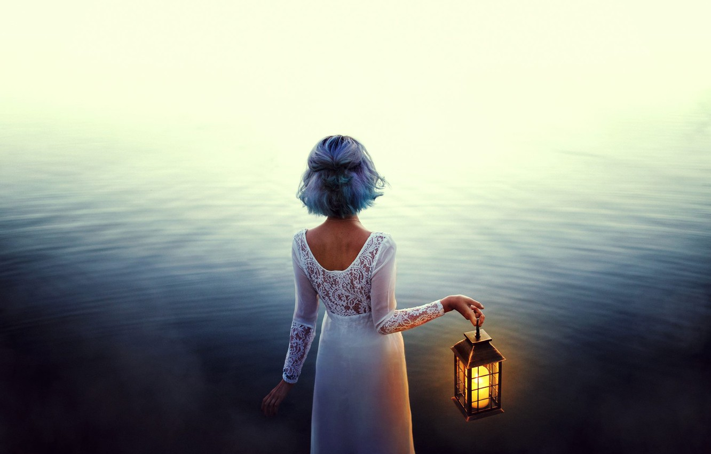 Photo wallpaper water, girl, mood, dress, lantern, blue hair, Valentina Diaz