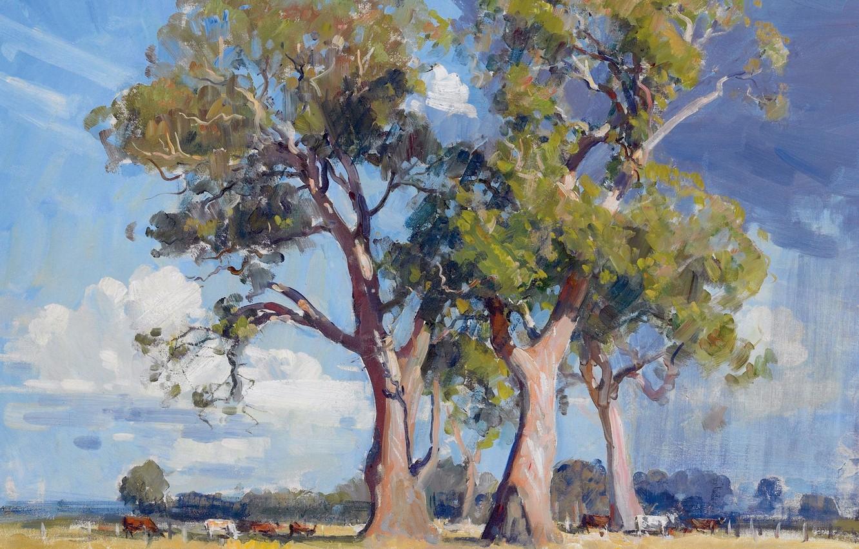 Photo wallpaper animals, trees, landscape, picture, The Three Gums, Arthur Streeton