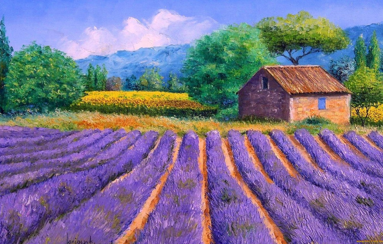 Photo wallpaper artist, house, lavender, impressionist, jean marc janiaczyk, artyu field