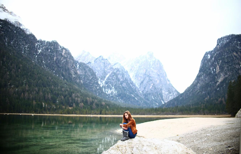 Photo wallpaper girl, mountains, nature, sitting