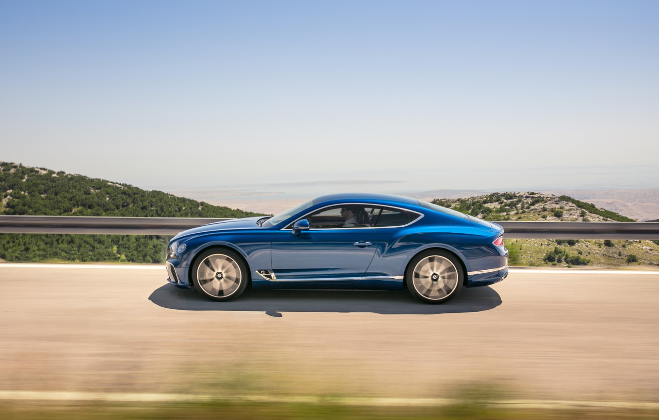 Photo wallpaper Bentley, Continental GT, Blue, Coupe, 2017